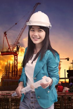 Female engineer with construction plant against building stuctur
