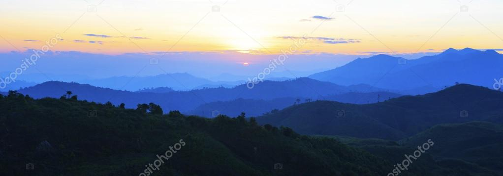 panorama view of sun rising over mountain scene use for natural