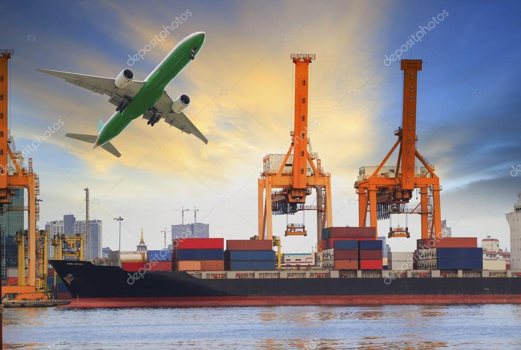 Container ship loading on port and cargo plane flying above for water and air transportation industry