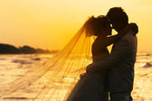 Fotografie groom and bride in love emotion romantic moment on the beach