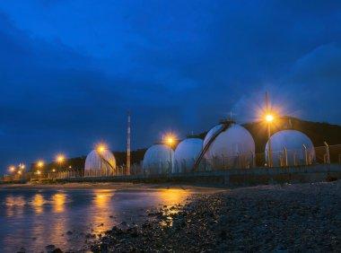 beautiful lighting of gas lpg storage tank in petrochemical indu