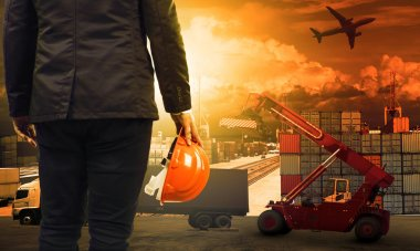 Working man in container dock and land ,air transport ,import ex