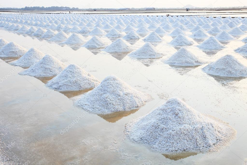 Heap of sea salt in original salt produce farm make from natural