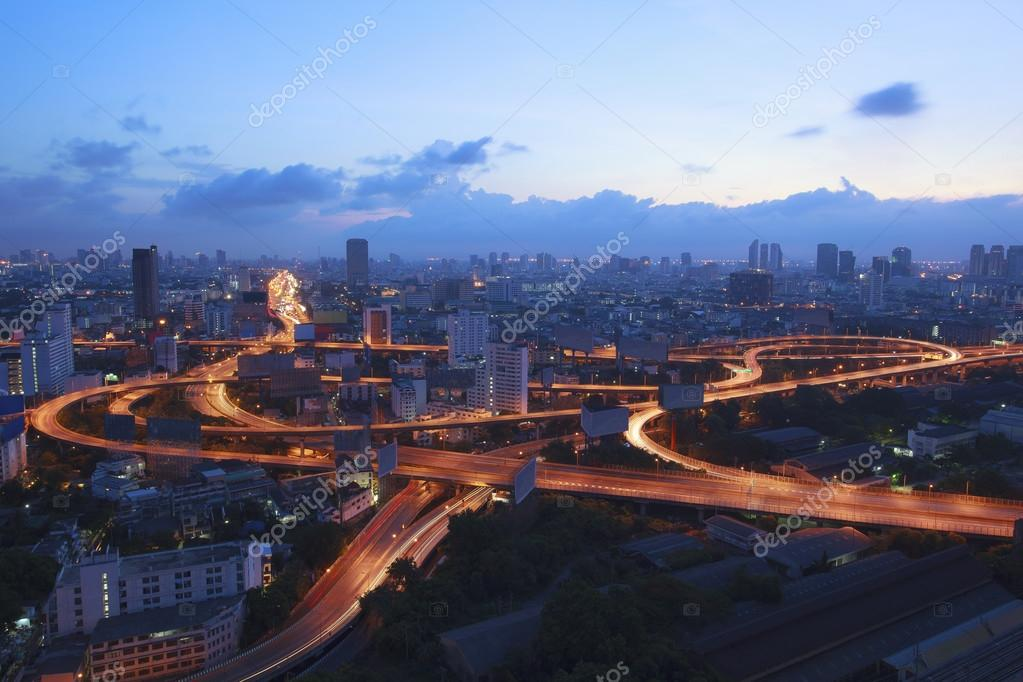 City scape and beautiful traffic light on expressways in heart o
