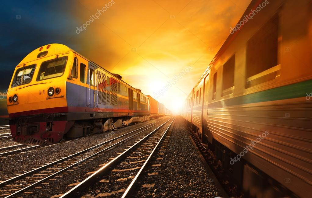 passenger trains and industry container  railroads running on ra