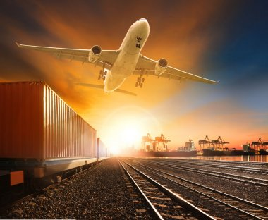 industry container trainst running on railways track plane cargo