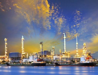 tanker ship and petrochemical oil refinery industry plant with b