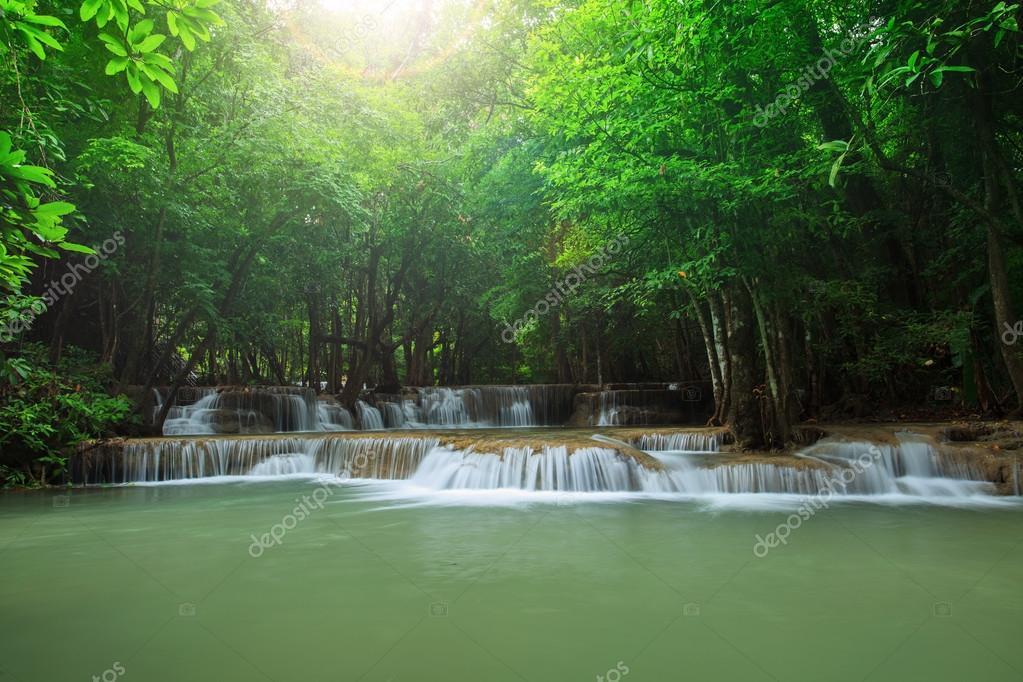beautiful hauy mae kamin water falls in deep forest kanchanaburi