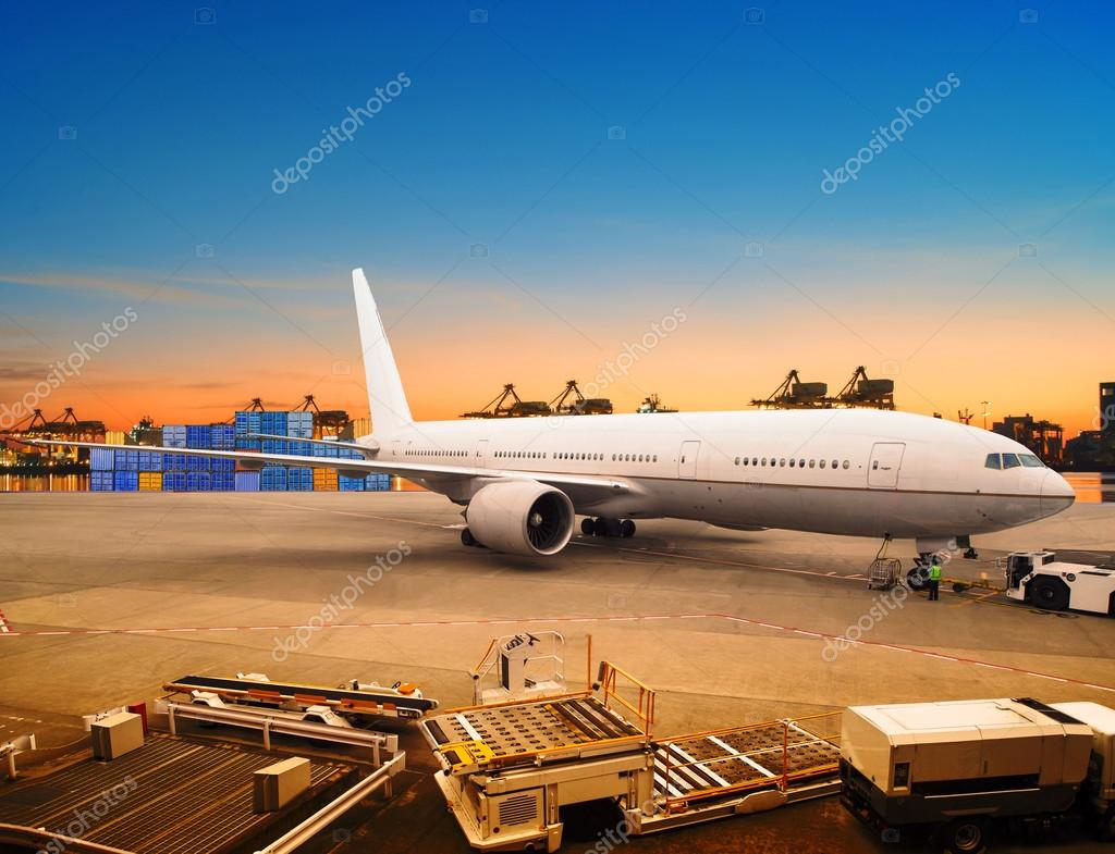 air freight and cargo plane loading trading goods in airport con