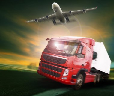container truck and freight cargo plane flying above in land and