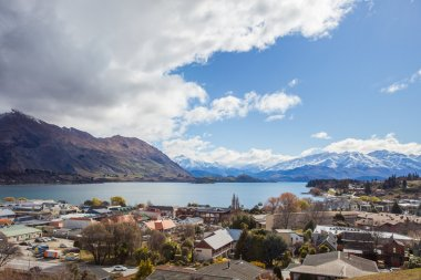 beautiful top view land scape of lake wanaka town in cloudy day