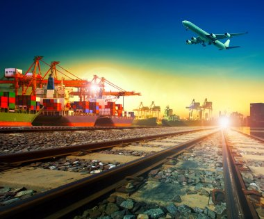 railway transport in import export shipping port and cargo plane