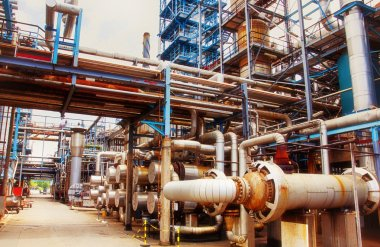 Interior of large oil and gas refinery