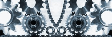 Cogwheels, bearings and gears in panoramic action