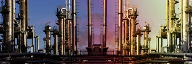 oil refinery at sunset, panoramic view