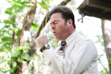 Businessman Coughing with Flu