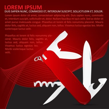 Vector red background with multi-functional penknife