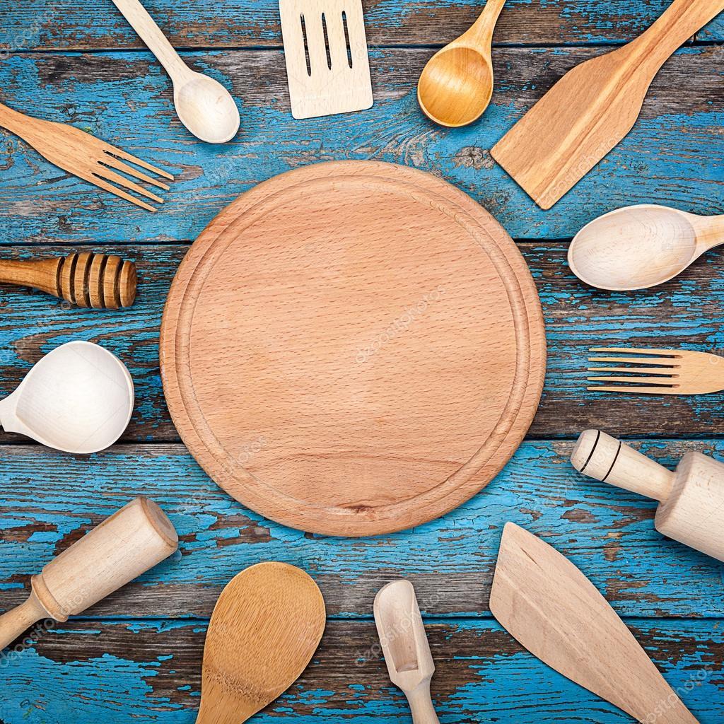 Legen Sie Küchenutensilien. Zubehör für die Küche — Stockfoto ...