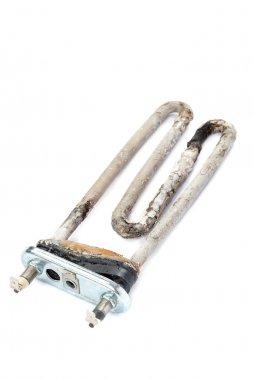 Damaged heating element of the washing machine.