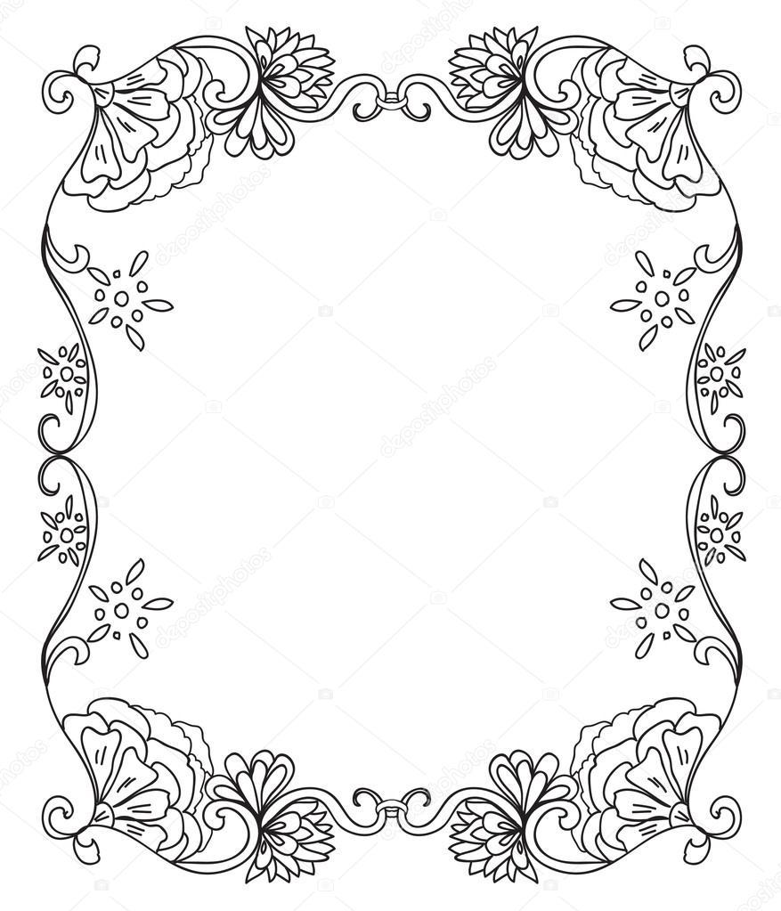 Marco De Flores Decorativo Para Colorear Foto De Stock