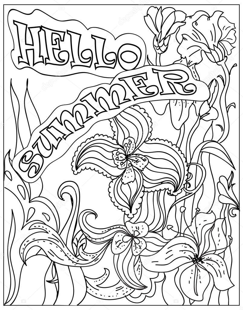 decoratieve kleurplaat poster hallo zomer zwart op wit