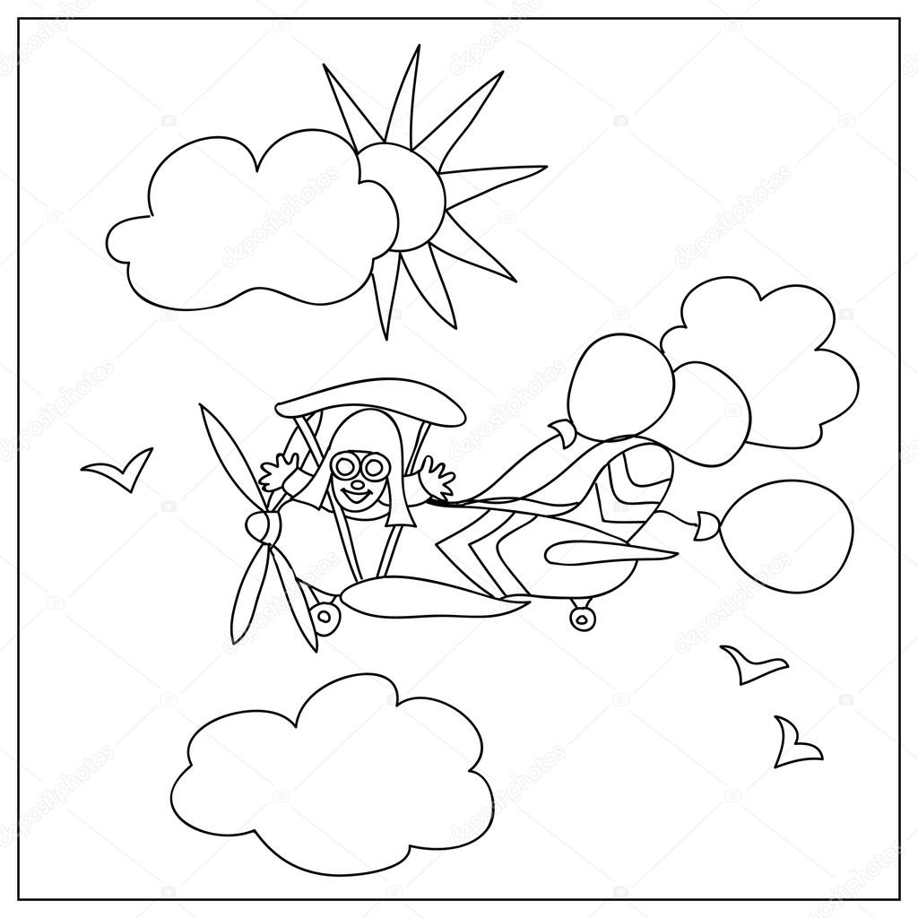 Avión a los niños para colorear página aislado en blanco — Fotos de ...