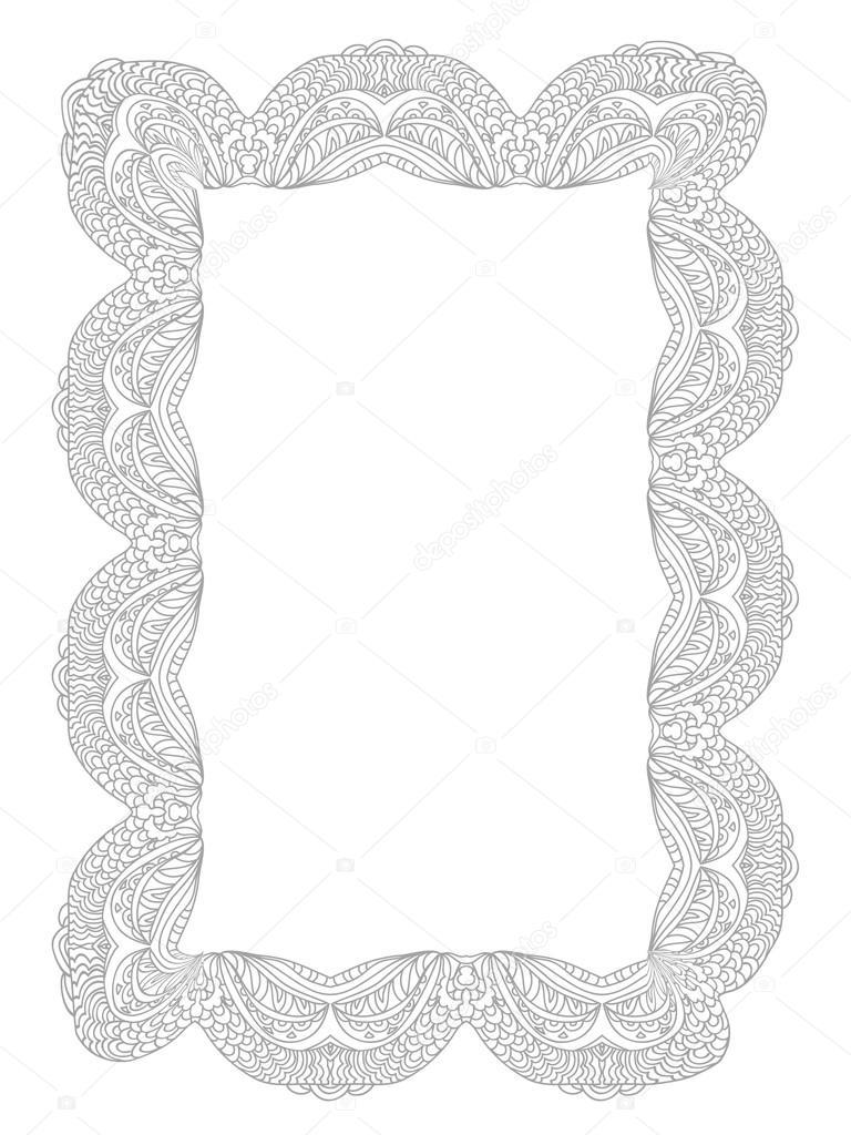 Dekoratif Dantel çerçeve Sayfa Siyah Beyaz Izole Boyama Stok Foto