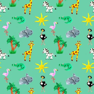 Plasticine seamless African baby animals colorful seamless 3d illustration pattern