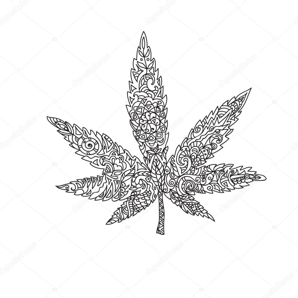 Cannabis feuille zentangle photographie nuarevik 74585577 - Coloriage feuille de cannabis ...