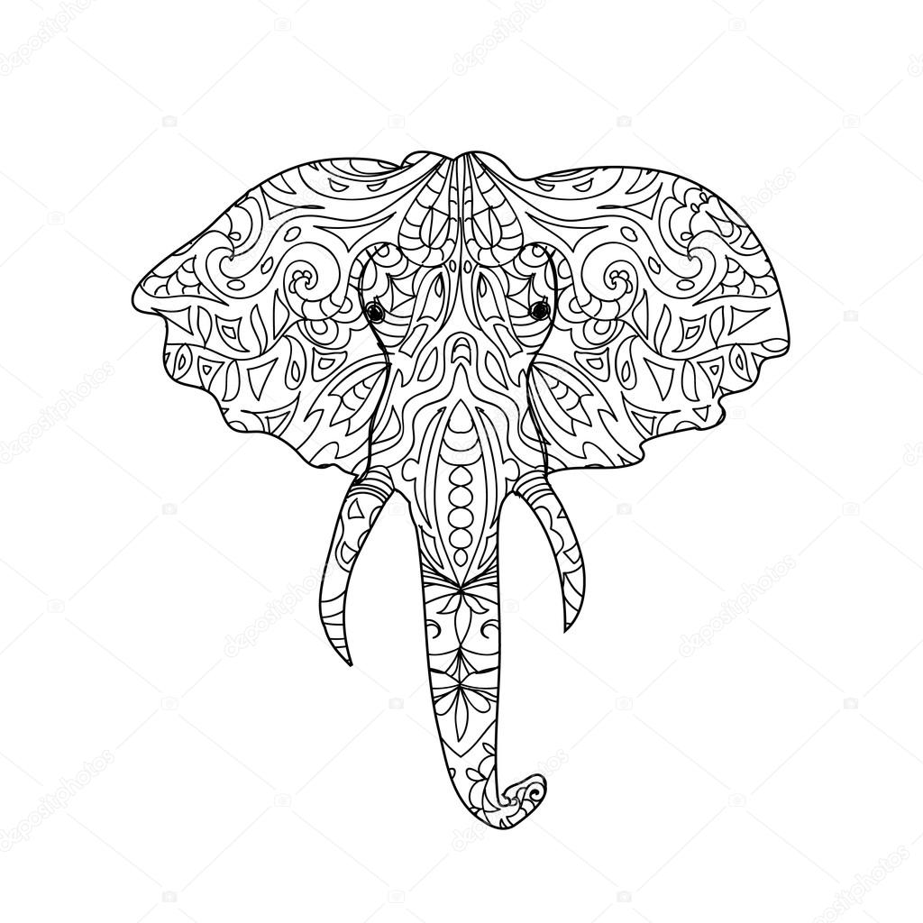 olifant hoofd zentangle stockfoto 169 nuarevik 74829699
