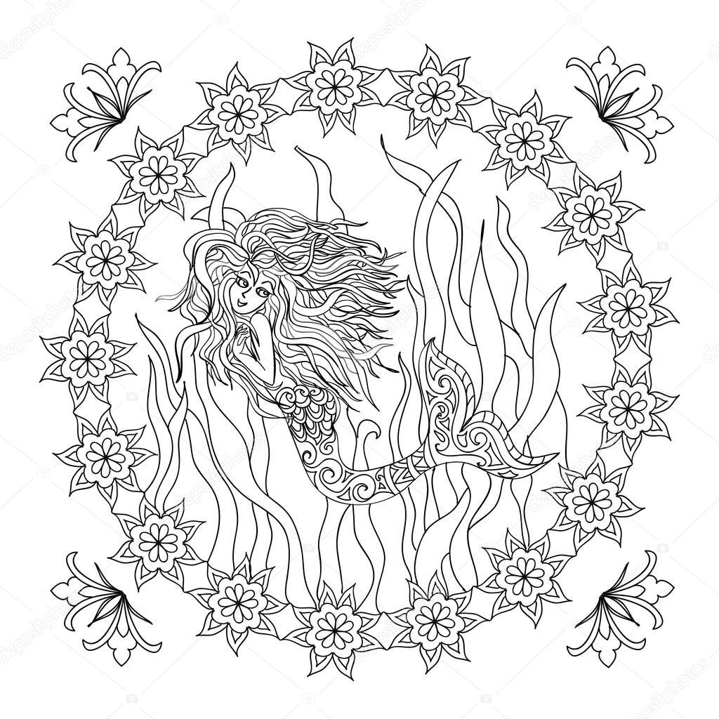 Mermaid Zentangle Coloring Page Isolated Stock Photo C Nuarevik