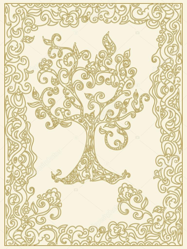 Decorative Tree Of Life With Frame Stock Photo Nuarevik 96086834