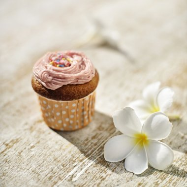 Strawberry cupcake on wood table in hard light with flowers