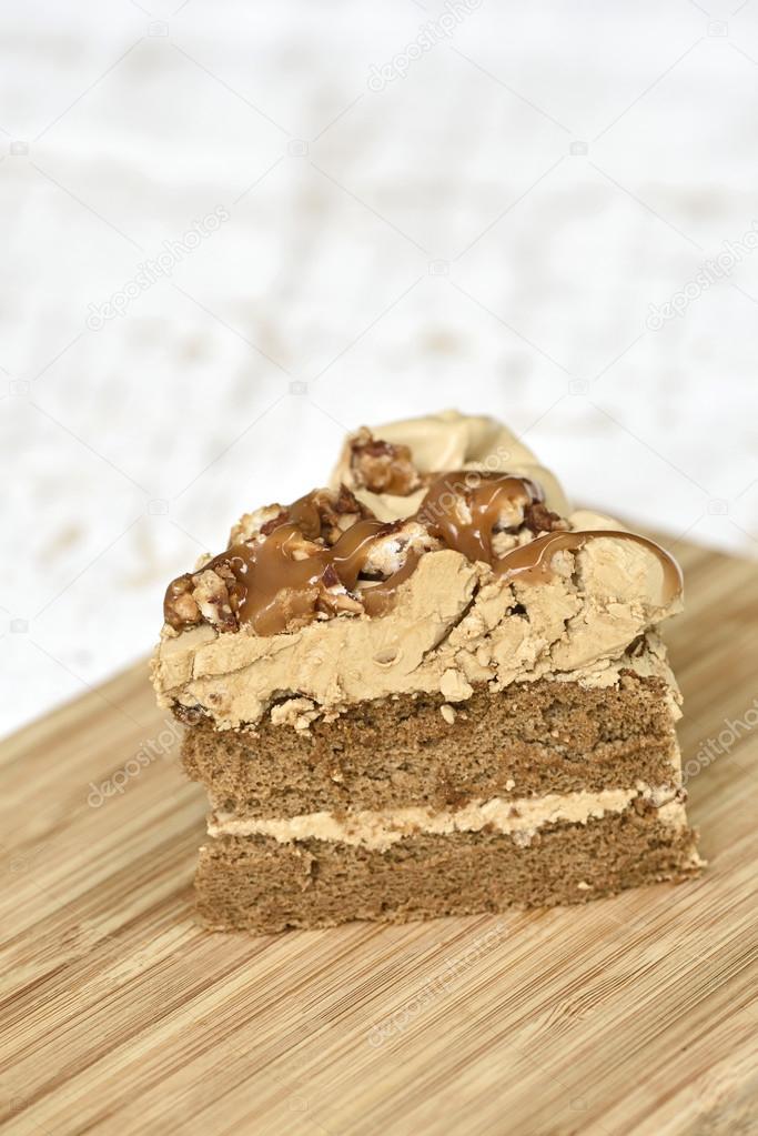 Kaffee Kuchen Auf Holz Teller U2014 Stockfoto