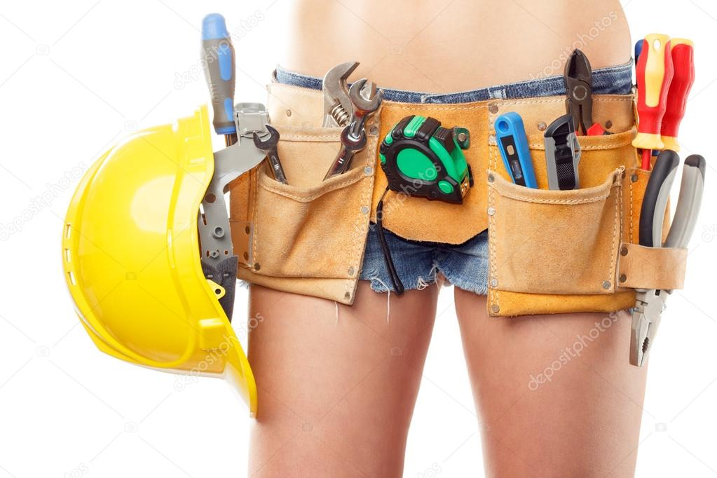 Woman builder with set of construction tools, isolated — Stock ...