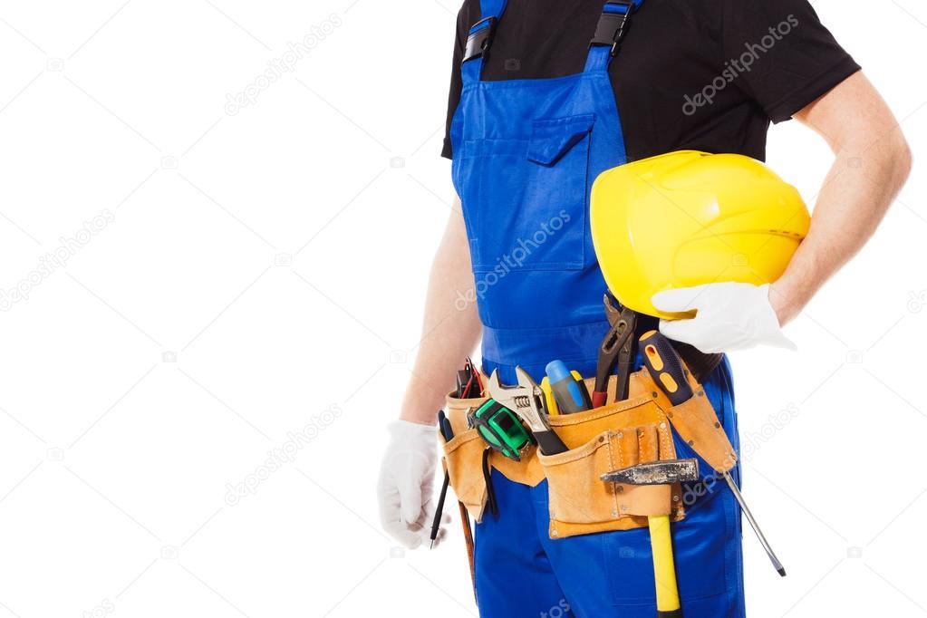 6cb28c35532e Générateur d homme avec ceinture d outils de construction différents, isolé  — Image de kazatin