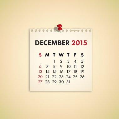 December 2015 Note Paper Calendar