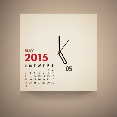 2015 Calendar May Clock Design