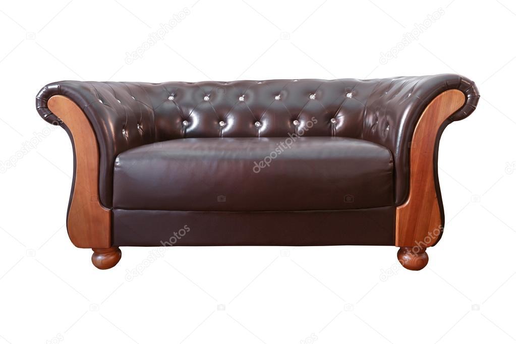 Vintage classic bruin lederen fauteuil geïsoleerd op witte backgro