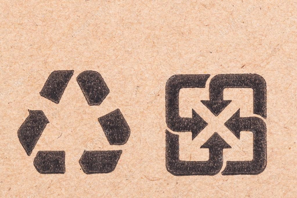 Recycling Green Dot Symbol Fragile On Cardboard Box Stock Photo