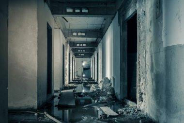 hallway walkway abandoned building can use horror movie scene ba