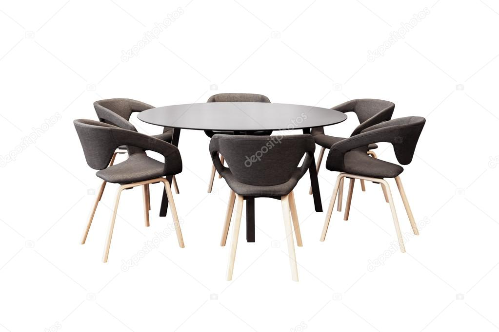 r union de table ronde et chaises de bureau noir pour conf rence isol photographie frameangel. Black Bedroom Furniture Sets. Home Design Ideas