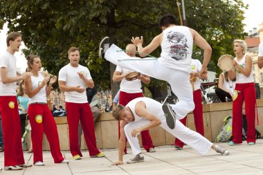 WARSAW, POLAND, AUGUST 01: Unidentified capoeira dancer on street performance  on August 01, 2014 in Warsaw, Poland.