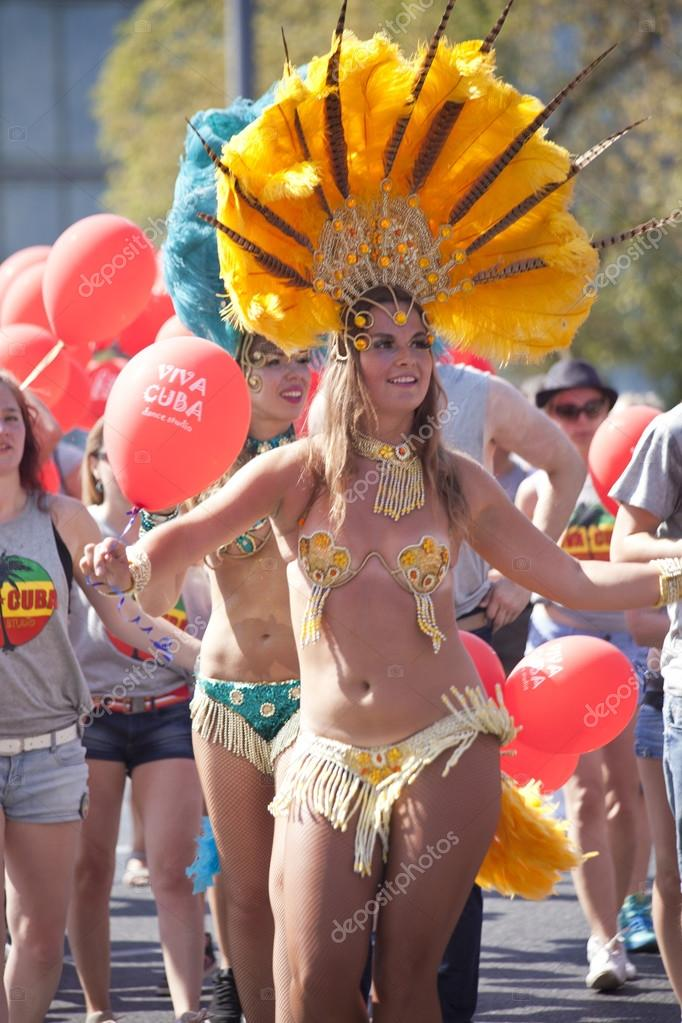 WARSAW, POLAND, AUGUST 30: Unidentified Carnival dancer on the parade on Warsaw Multicultural Street Parade on August 30, 2015 in Warsaw, Poland.