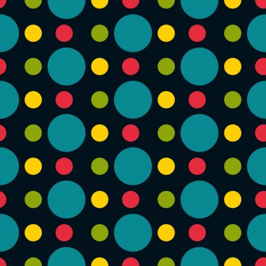 Colored polka dots seamless pattern