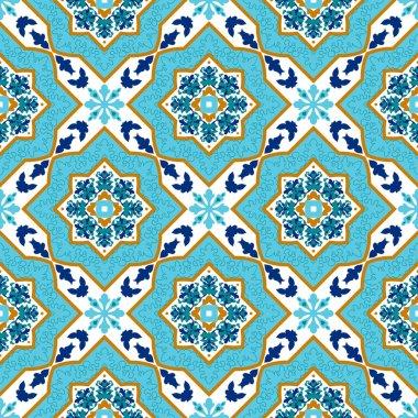 Portuguese azulejo. White and blue. Tile Seamless patterns Mayolika. stock vector