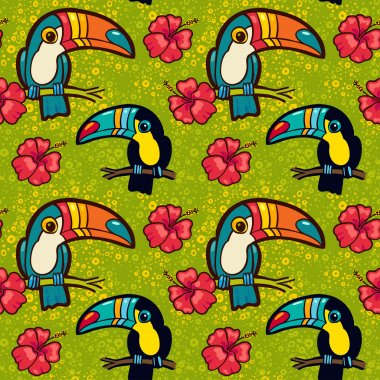 Tropical  pattern with Toucans and Hibiscus flowers