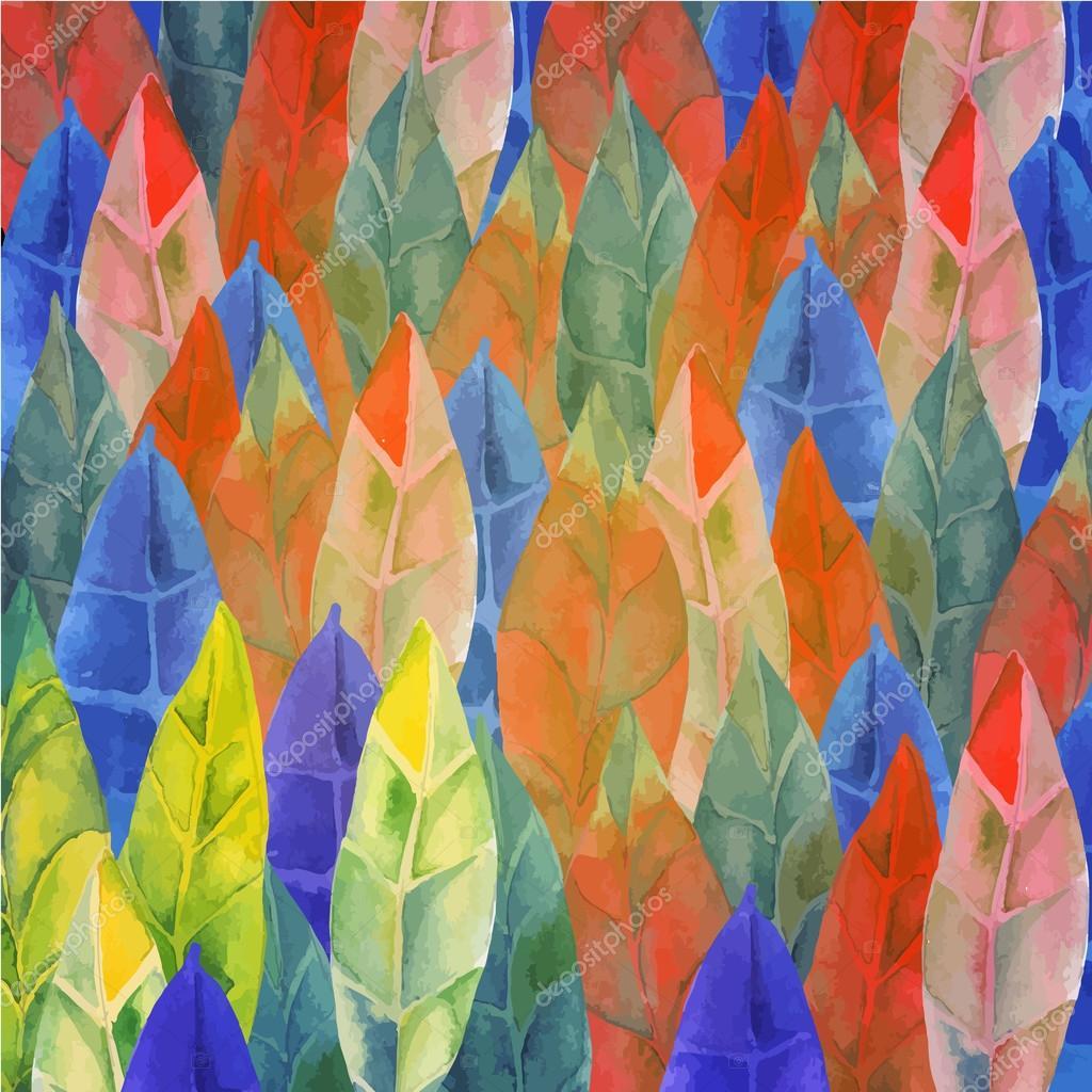 Background of feathers, leaves Tribal, boho