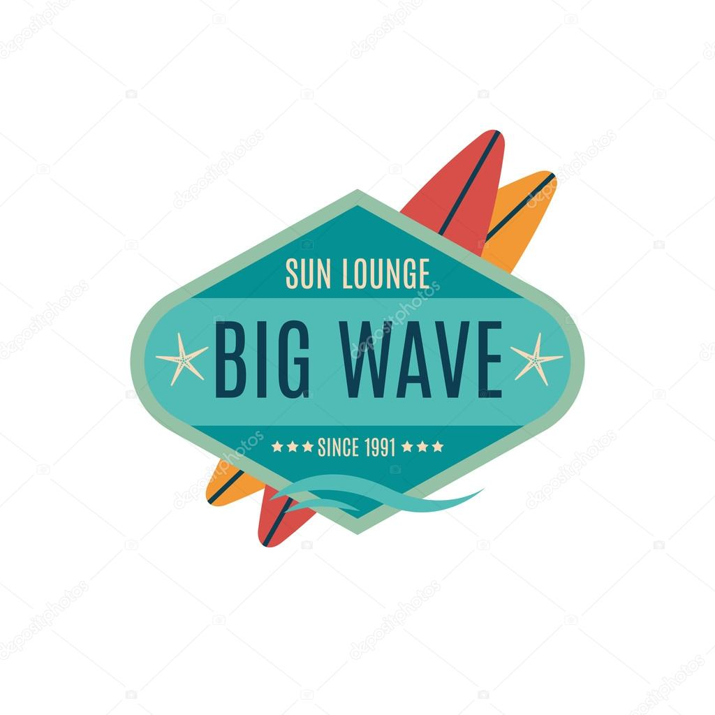 Vector Retro Style Surfing Labels, Logos