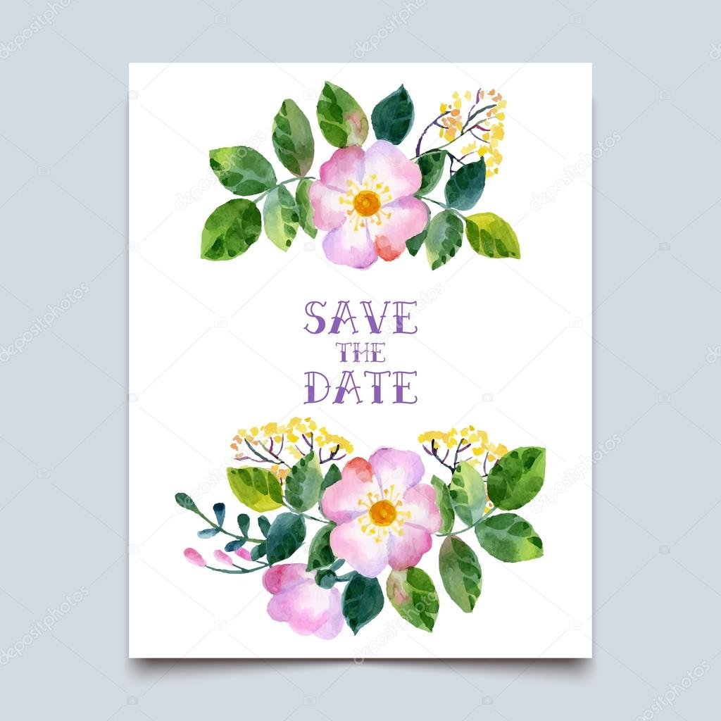 Vector watercolor colorful  floral  with summer flowers